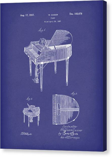 Canvas Print featuring the drawing Piano 1937 Patent Art Blue by Prior Art Design