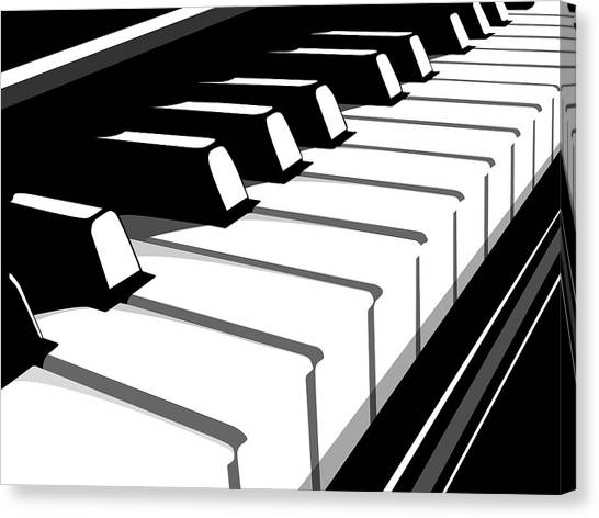 Music Canvas Print - Piano Keyboard No2 by Michael Tompsett