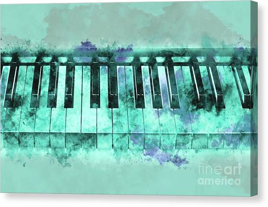 Electronic Instruments Canvas Print - Piano Keyboard Watercolor by Delphimages Photo Creations