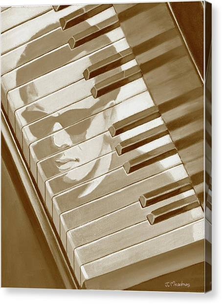 Piano Man In Sepia Canvas Print