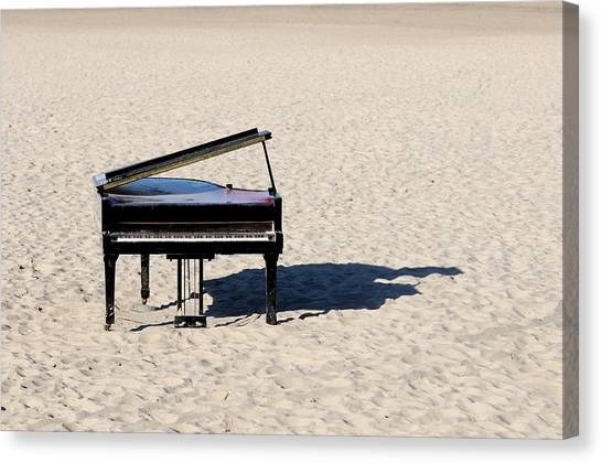 Pianos Canvas Print - Piano On Beach by Hans Joachim Breuer