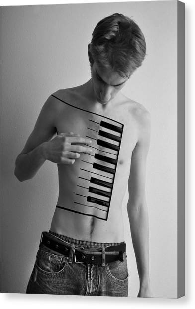 Synthesizers Canvas Print - Piano Player by Evan Sharboneau