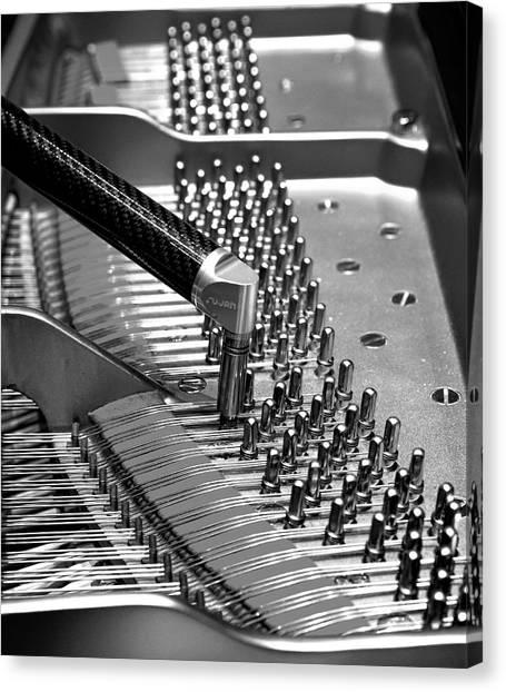 Piano Tuning Bw Canvas Print