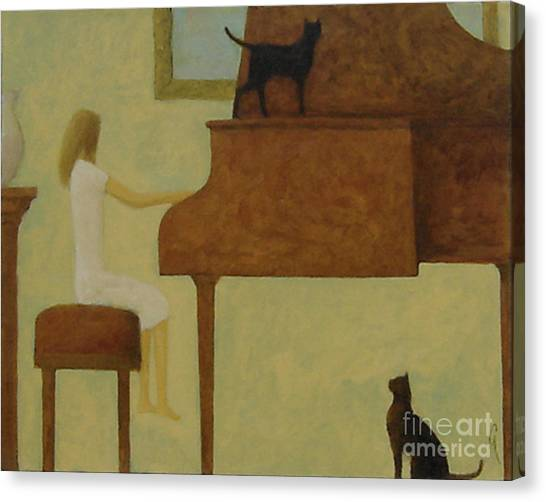 Piano Two Cats Canvas Print