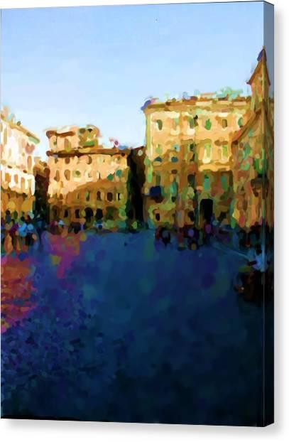Piazza Navona In Rome Canvas Print by Asbjorn Lonvig