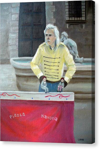 Piazza Puppeteer Canvas Print by Joe Lanni