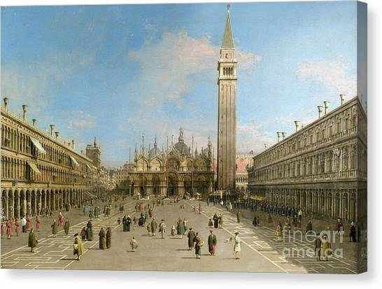 San Marco Canvas Print - Piazza San Marco Looking Towards The Basilica Di San Marco  by Canaletto