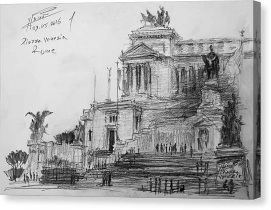Rome Canvas Print - Piazza Venezia Rome by Ylli Haruni