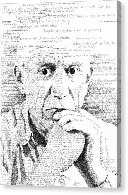 Pablo Picasso Canvas Print - Picasso In His Own Words by Phil Vance
