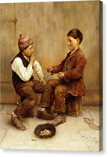 Hat Trick Canvas Print - Pick A Hand, 1889 by Karl Witkowski
