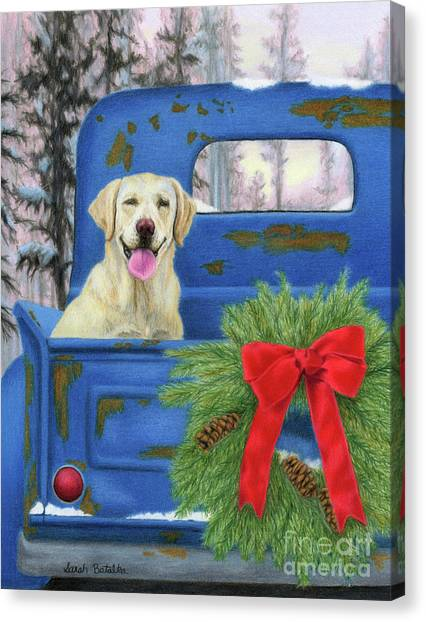 Old Trucks Canvas Print - Pick-en Up The Christmas Tree by Sarah Batalka