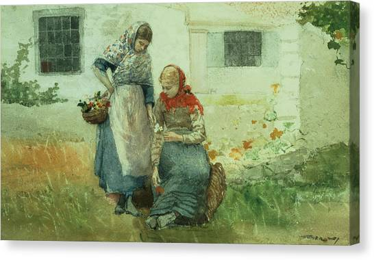 Pencil On Canvas Print - Picking Flowers by Winslow Homer
