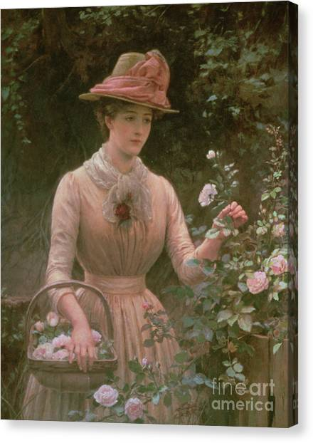 Victorian Garden Canvas Print - Picking Roses by Charles Sillem Lidderdale