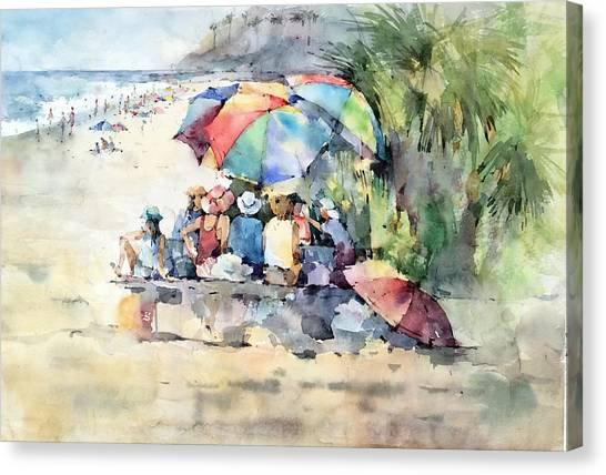 Picnic - Laguna Beach - California Canvas Print by Natalia Eremeyeva Duarte