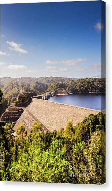 Engineering Canvas Print - Picturesque Hydroelectric Dam by Jorgo Photography - Wall Art Gallery