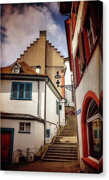 Streetlights Canvas Print - Picturesque Old Town Of Basel Switzerland  by Carol Japp