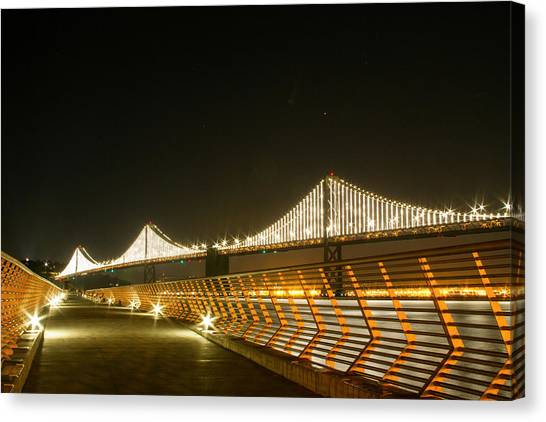 Pier 14 And Bay Bridge Lights Canvas Print