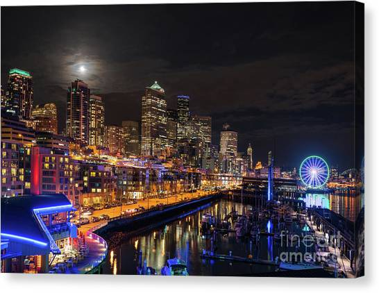 The Nature Center Canvas Print - Pier 66 Full Moon Rising Over Seattle by Mike Reid