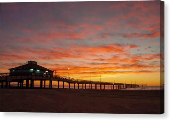 Pier At Sunrise Port Aransas Tx Canvas Print