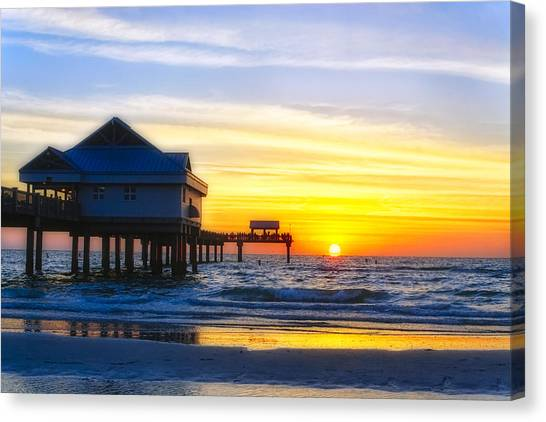 Tropical Sunset Canvas Print - Pier  At Sunset Clearwater Beach Florida by George Oze