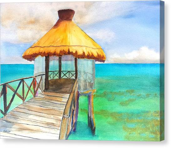 Tiki Canvas Print - Pier Gazebo At Mayan Palace by Carlin Blahnik CarlinArtWatercolor