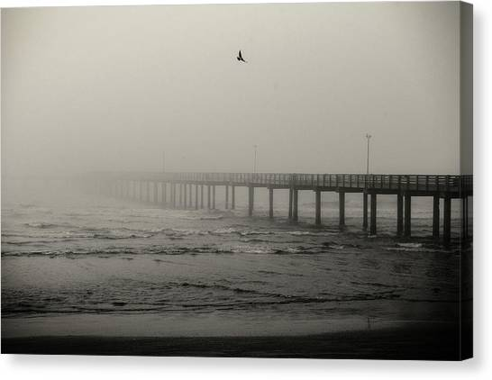 Pier In Fog Canvas Print
