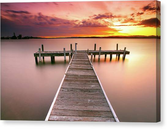 Lake Sunsets Canvas Print - Pier In Lake Macquarie At Sunset, Australia by Yury Prokopenko