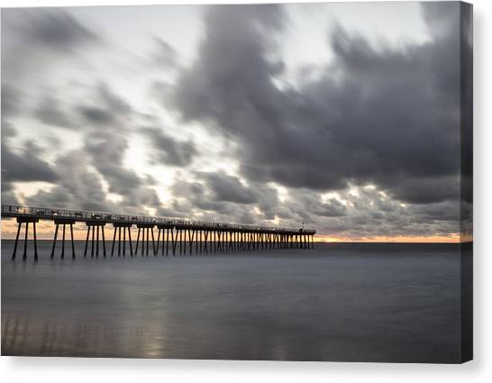 Pier In Misty Waters Canvas Print