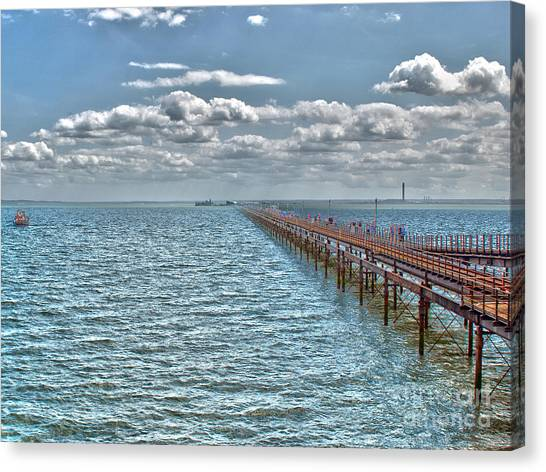 Pier Into The English Channel Canvas Print