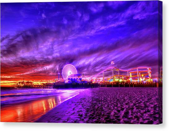 Santa Monica Pier Canvas Print - Pier Of Lights by Midori Chan