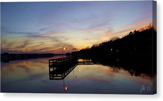 Pier Silhouetted In The Sunset On The Coosa River Canvas Print