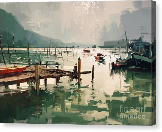 Canvas Print featuring the painting Pier by Tithi Luadthong
