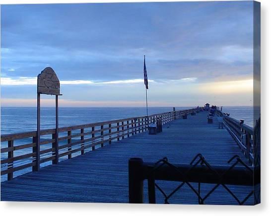 Pier View At Sunrise Canvas Print