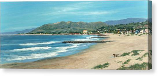Pierpont Beach And The Bench Canvas Print by Tina Obrien