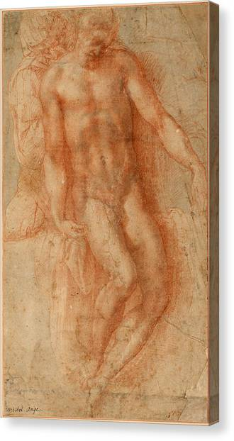 Michelangelo Simoni Canvas Print - Pieta by Michelangelo di Lodovico Buonarroti Simoni