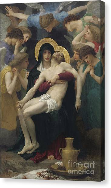 Virgin Mary Canvas Print - Pieta by William Adolphe Bouguereau