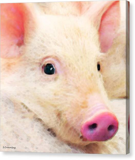 Pig Farms Canvas Print - Pig Art - Pretty In Pink by Sharon Cummings