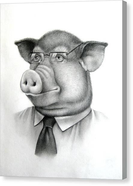 Pig Boss Canvas Print by Vlad Krichenko