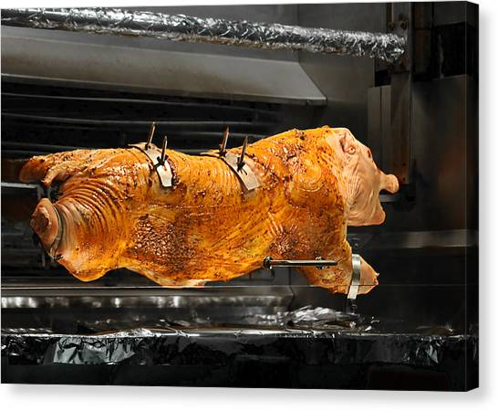 Grill Canvas Print - Pig Plus Barbecue Equals Mmmm Good by Christine Till