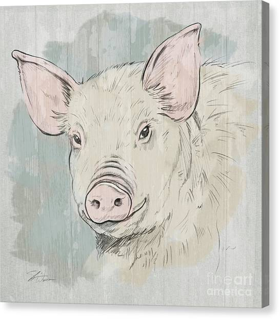 Pig Farms Canvas Print - Pig Portrait-farm Animals by Shari Warren