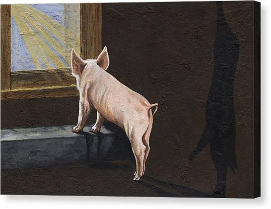 Pig Farms Canvas Print - Free Me by Twyla Francois