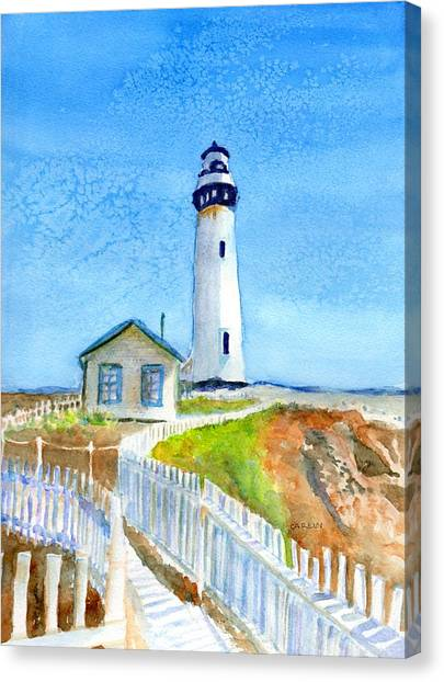 Pigeons Canvas Print - Pigeon Point Lighthouse California by Carlin Blahnik CarlinArtWatercolor