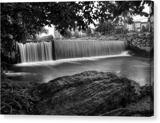 Pigeon River At Old Mill In Black And White Canvas Print