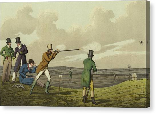 Gent Canvas Print - Pigeon Shooting by Henry Thomas Alken