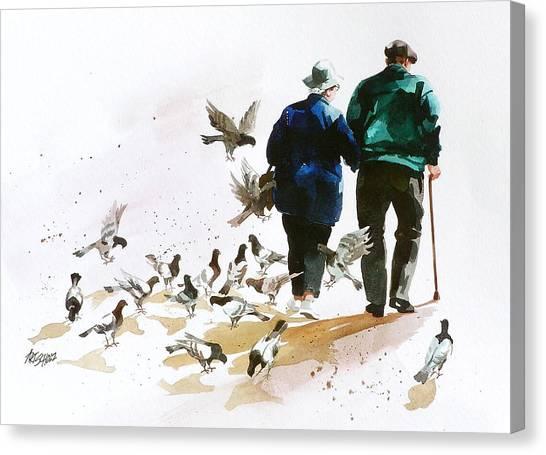 Pigeons 'n Pals Canvas Print by Art Scholz
