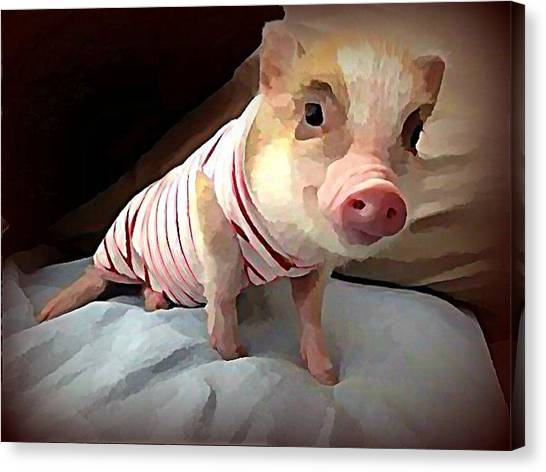 Canvas Print - Piglet In Pjs by Raven Hannah