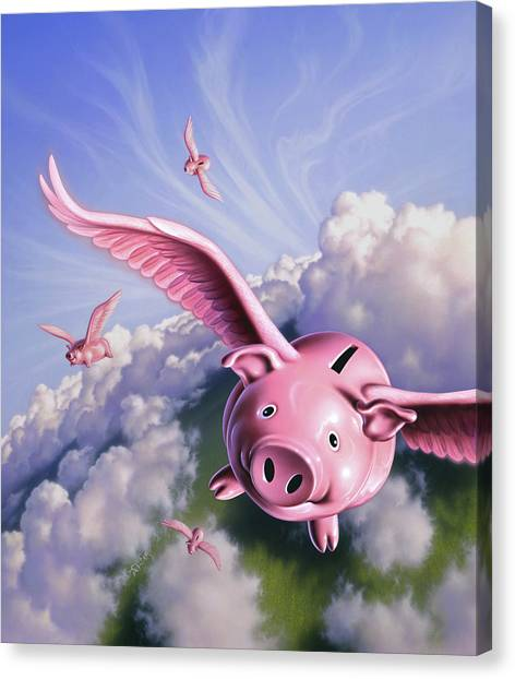 Coins Canvas Print - Pigs Away by Jerry LoFaro