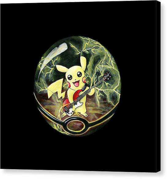 Pokemon Go Canvas Print - Pikachu's Electrocuting Music by Kacey Thorn