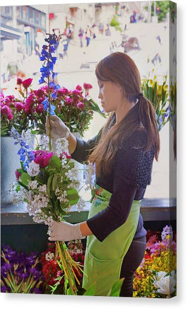 Pike Place Market - Flower Vendor Canvas Print by Nikolyn McDonald