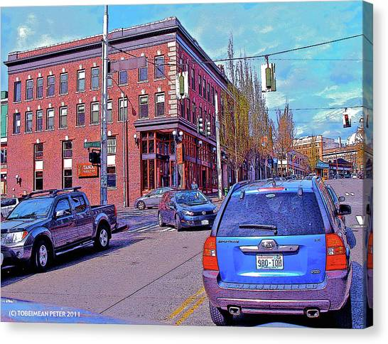 Pike Street And Boren Avenue Canvas Print